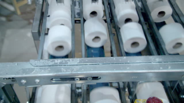 "toilet paper on production line in factory - ""bbc universal"" stock videos & royalty-free footage"