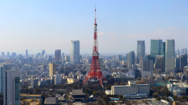 tokyo aerial - tokyo tower stock videos and b-roll footage