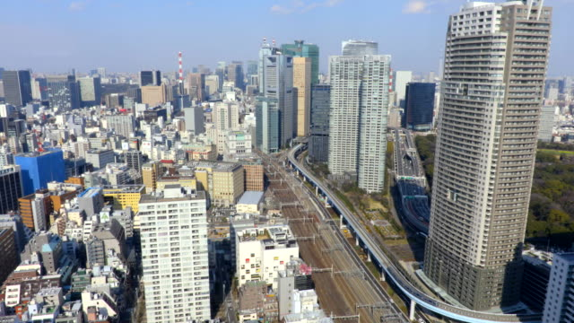tokyo aerial - panning video stock e b–roll