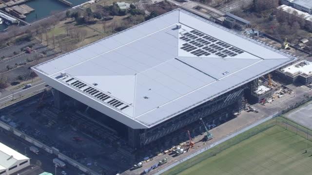 aerial, tokyo aquatics centre u/c, japan - tokyo bay stock videos & royalty-free footage