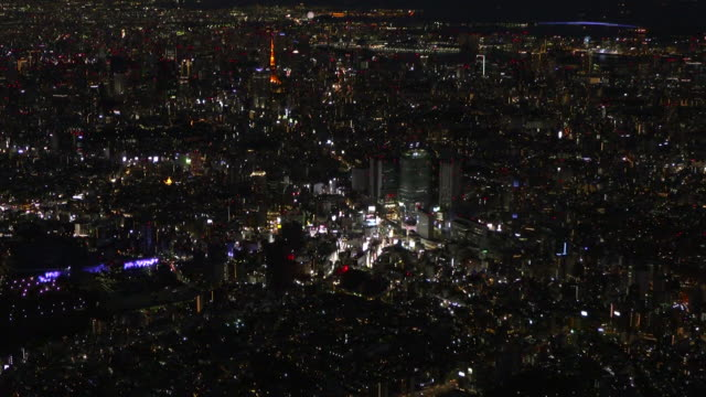 aerial, tokyo at night, japan - december stock videos & royalty-free footage