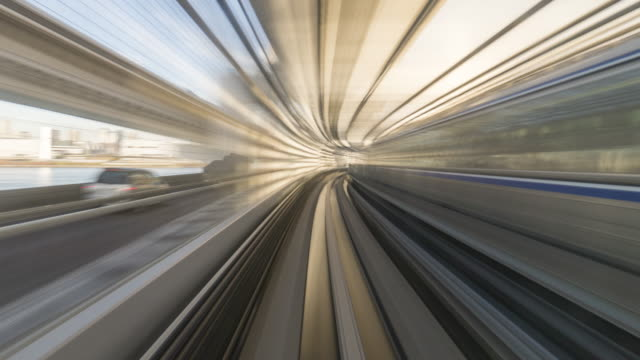 tokyo automated train time lapse - ferrovia video stock e b–roll