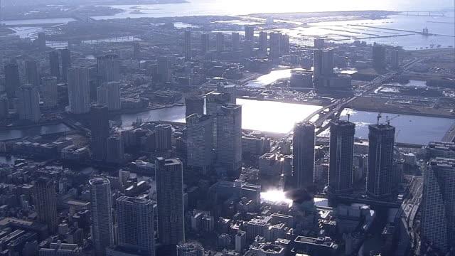 aerial, tokyo bay area, chuo ward, tokyo, japan - tokyo bay stock videos & royalty-free footage