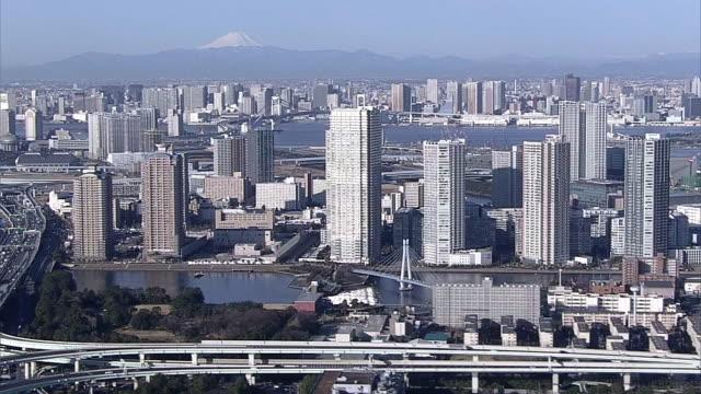 AERIAL, Tokyo Bay Area With Mt Fuji, Koto Ward, Tokyo, Japan