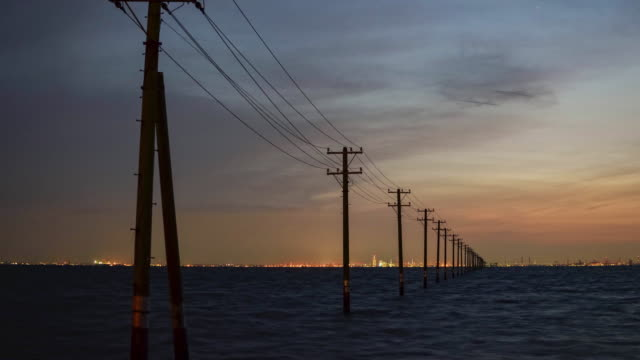 tokyo bay at dusk - telegraph pole stock videos and b-roll footage