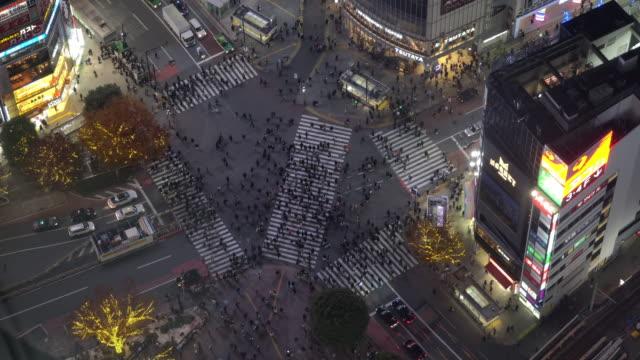 centro business di tokyo dalla vista dall'alto di notte - pedestrian video stock e b–roll