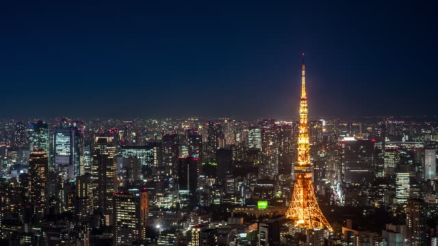 tokyo business district at night - tokyo japan stock videos & royalty-free footage