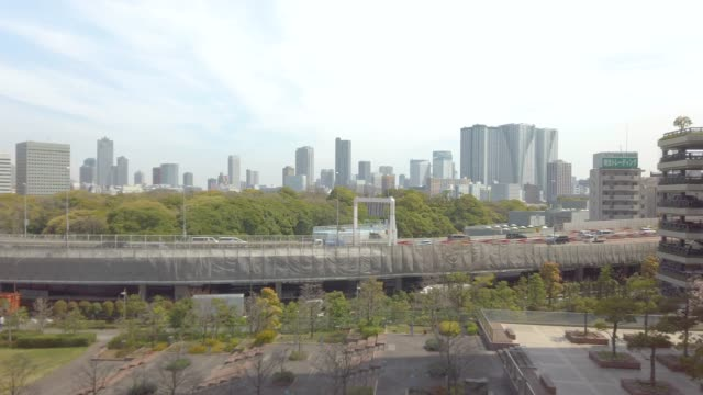 tokyo city and hamarikyu gardens view from moving train . - motor vehicle stock videos & royalty-free footage