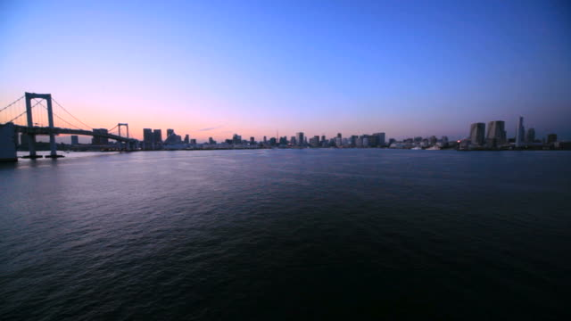 Tokyo city and Rainbow bridge (timelapse)