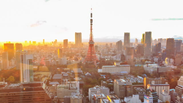 tokyo city at twilight - tokyo tower stock videos and b-roll footage