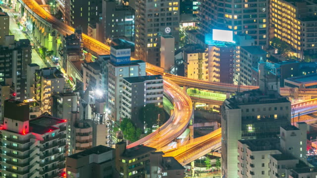 tokyo city close up highway at night time lapse - motorway stock videos & royalty-free footage