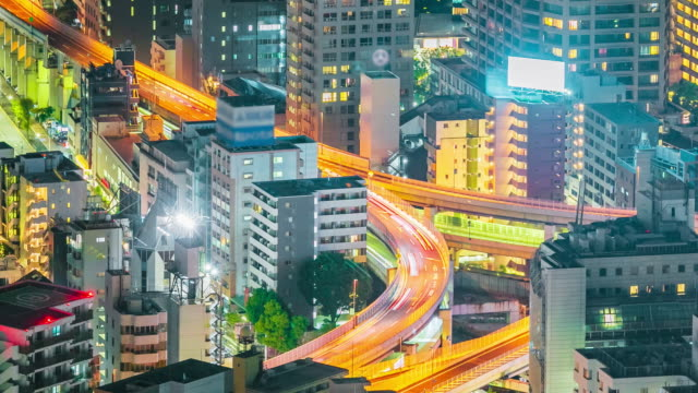 tokyo city close up highway at night time lapse - roppongi stock videos and b-roll footage