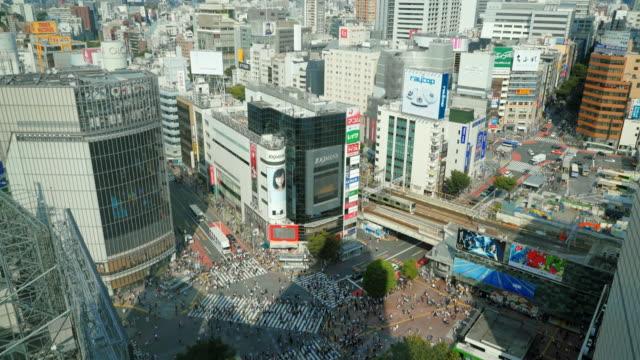 hd tokyo city shibuya crossing high view - shibuya ward stock videos & royalty-free footage