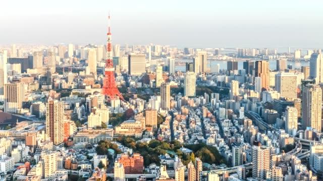 Tokyo city skyline from sunset to twilight, from Roppongi, Minato ward, Tokyo, Japan. 4K 3840x2160 Format.