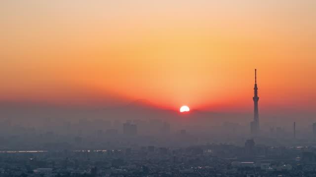 富士山との東京シティサンセット - タイムラプス 点の映像素材/bロール