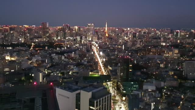 tokyo city view at night - tokyo bay stock videos & royalty-free footage