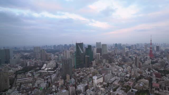 ws tl tokyo cityscape at dusk - 固定撮影点の映像素材/bロール