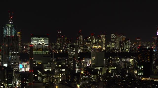 夜の東京の街並 - 高層ビル点の映像素材/bロール