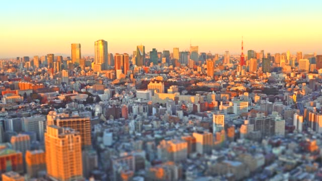 Tokyo Cityscape at sunset - panning