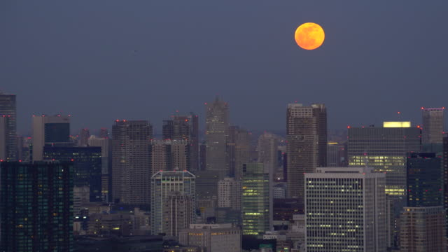 tokyo cityscape - moon rising above the skyscrapers - supermoon stock videos & royalty-free footage