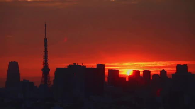 tokyo cityscape sunrise timelapse - tokyo japan stock-videos und b-roll-filmmaterial