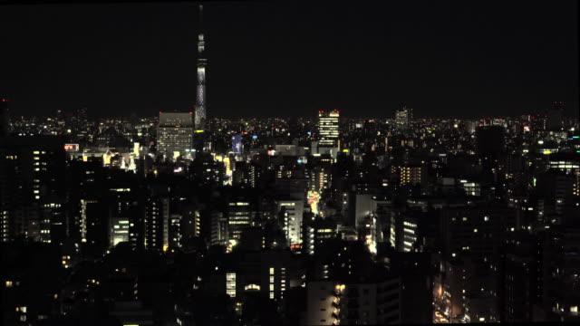 東京の風景 - 東京スカイツリー - 夜点の映像素材/bロール