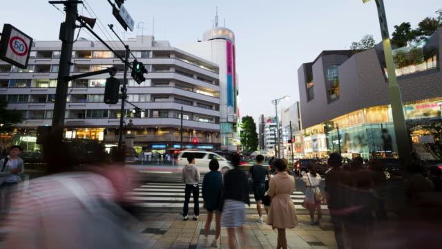 vídeos de stock, filmes e b-roll de lc1231 travessia em tóquio, japão - veículo terrestre comercial
