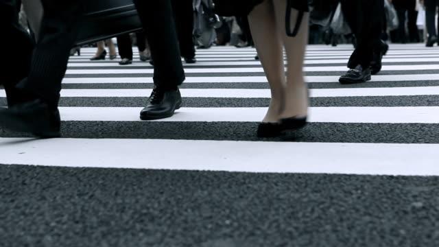 vídeos y material grabado en eventos de stock de cruce la calle de la ciudad de tokyo - paso de cebra