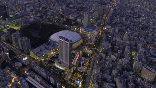 tokyo dome aerial at dusk - baseball diamond stock videos and b-roll footage