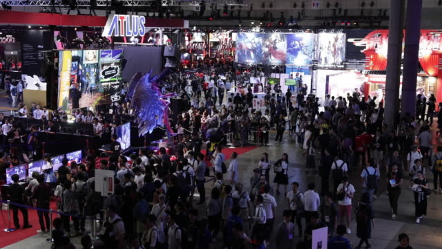 tokyo game show 2019 with atlus co. booth, held in chiba, japan, on friday, sep 13, 2019. - gioco televisivo video stock e b–roll