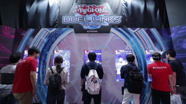 tokyo game show 2019 with atlus co. booth, sony interactive entertainment inc. booth and ntt docomo inc. booth, held in chiba, japan, on friday, sep... - game show stock videos & royalty-free footage