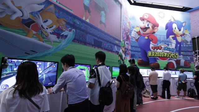 tokyo game show 2019 with ntt docomo inc. booth, held in chiba, japan, on friday, sep 13, 2019. - game show stock videos & royalty-free footage