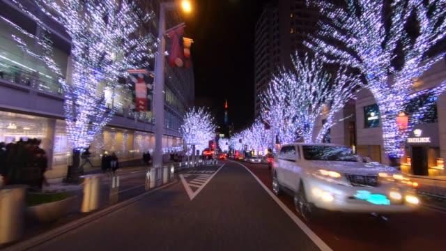 tokyo illumination drive - roppongi hills stock videos and b-roll footage