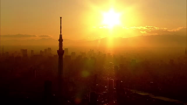 aerial, tokyo in sunset glow, japan - 1 minute or greater stock videos & royalty-free footage