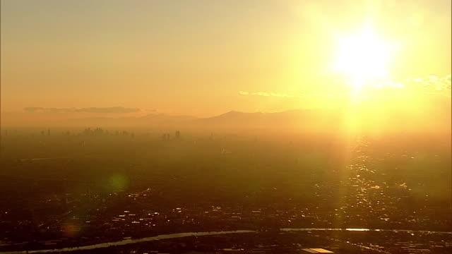aerial, tokyo in sunset glow, japan - 日没点の映像素材/bロール