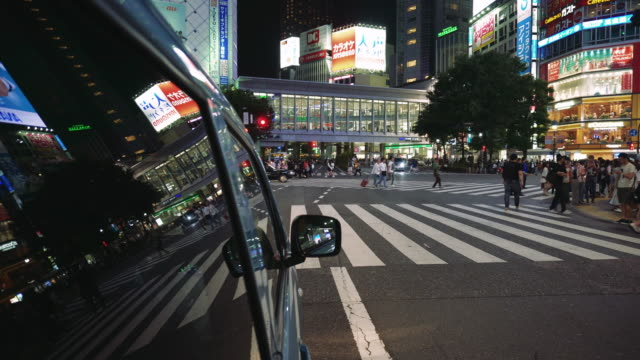 tokyo japan night traffic - road signal stock videos & royalty-free footage
