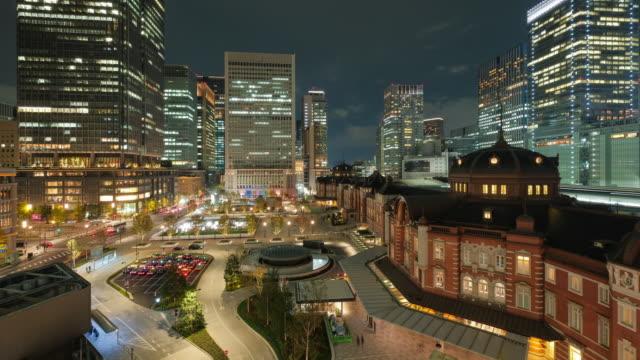 Tokyo - Japan, Tokyo Station,high view at night 4K time-lapse