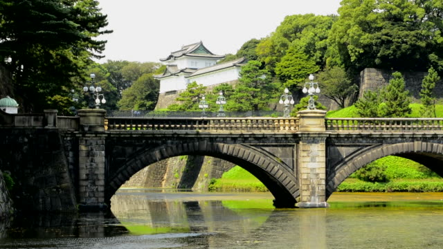 Tokyo Japan traditional Imperial Gardens in downtown city of traditional history of Emperor with bridge and temple and gardens
