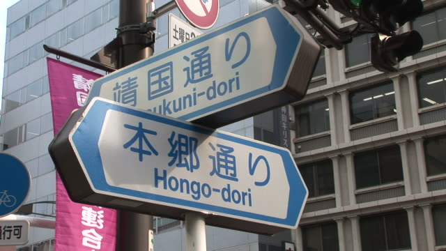 tokyo, japanclose-up of a signboard in tokyo japan - segnaletica stradale video stock e b–roll