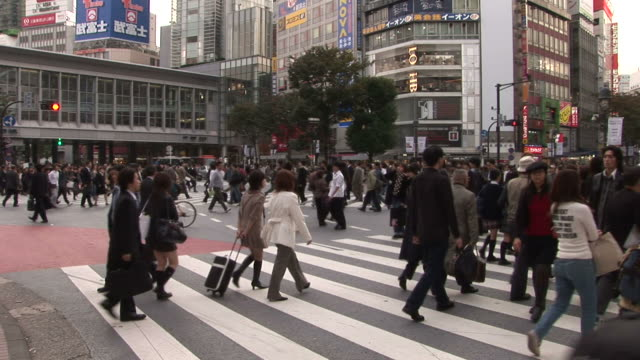 tokyo, japancrowd in the city street of tokyo japan - zebra print stock videos & royalty-free footage