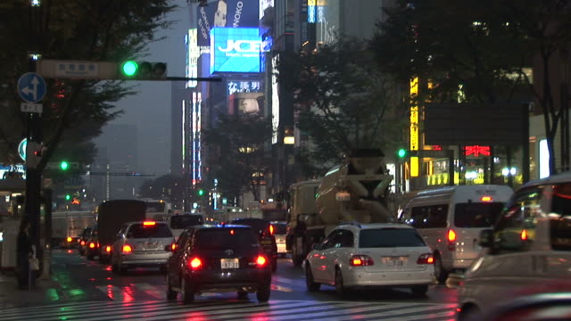 tokyo, japanheavy traffic at night in tokyo japan - zebra print stock videos & royalty-free footage