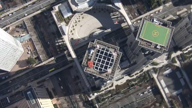 aerial, tokyo met gov bldg, japan - close up stock videos & royalty-free footage
