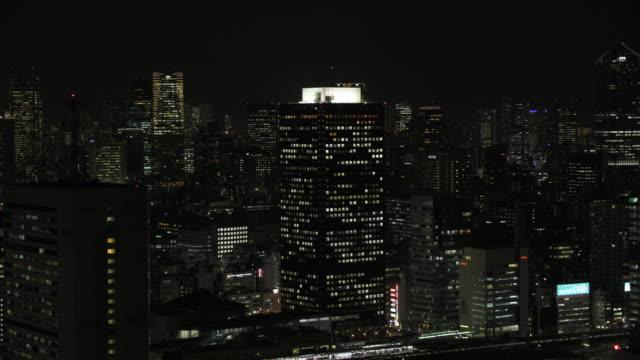 tokyo night aerial image - downtown - office block exterior点の映像素材/bロール