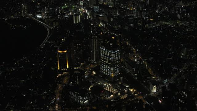 Tokyo night aerial image - Ebisu Garden Place illumination