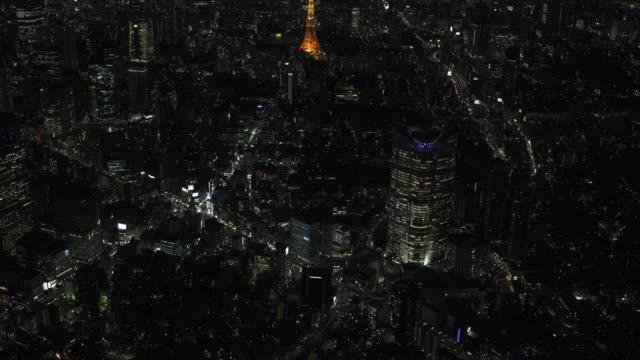 tokyo night aerial image - roppongi and tokyo tower - 夜点の映像素材/bロール