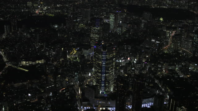 tokyo night aerial image - roppongi - roppongi stock videos and b-roll footage