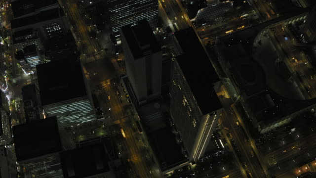 tokyo night aerial image - shinjuku district - 夜点の映像素材/bロール