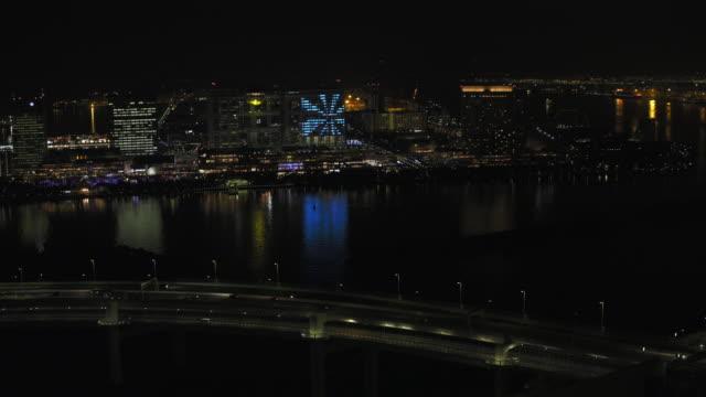 Tokyo night aerial image - Tokyo Bay area