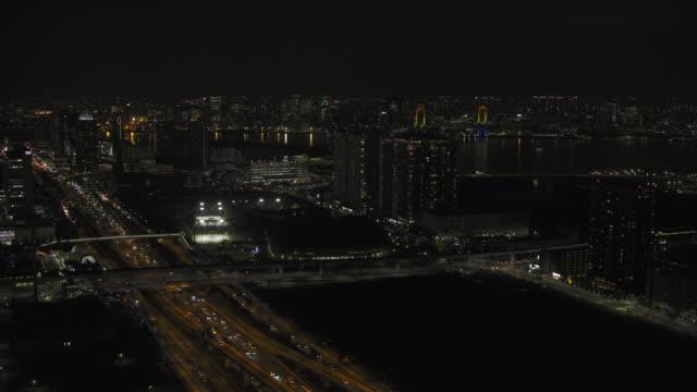 vídeos y material grabado en eventos de stock de tokyo night aerial image - tokyo bay area - estadio