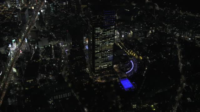 tokyo night aerial image - tokyo midtown in roppongi - tokyo midtown stock videos and b-roll footage